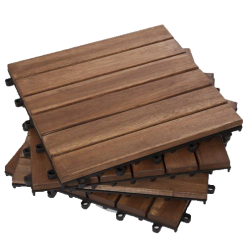 Can wood deck tiles be installed in bathroom?